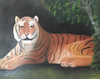 Oil Painting on Canvas, Wall Art, Tiger