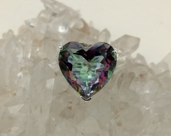 Mystic Topaz Heart Party Ring Size 8.5