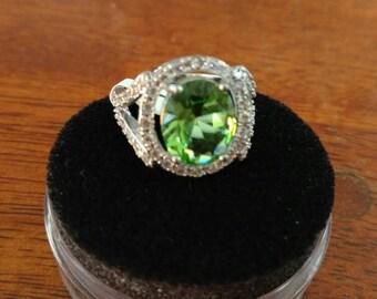 Green Quartz Ring Size 7