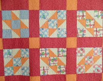 Upcycle Quilt, Vintage Throw Quilt, Traditional Patchwork Quilt, Handmade Twin Size Quilt, Jacob's Ladder quilt