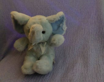 "Rattle Babies Elephant Russ plush baby blue NWTS  8"""