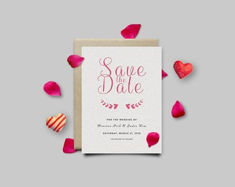 Pink Save The Date Card