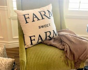 Farmhouse pillow cover, farm pillow, farm sweet farm, farmhouse decor, farmhouse pillow