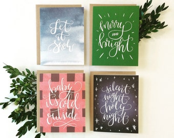 Christmas Card Set, Hand Lettered Holiday Stationery, Let It Snow, Merry & Bright, Silent Night, Baby It's Cold, Holiday Quotes, Watercolor