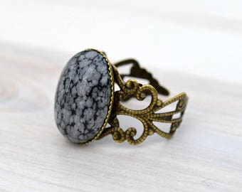 Snowflake obsidian bronze ring, Obsidian bronze ring, Obsidian ring, Snowflake obsidian ring, Bronze obsidian ring, Cabochon obsidian ring.