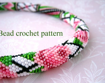 Bead crochet pattern PDF tutorial Rose pattern Crochet rope scheme Floral pattern Rose flower pattern  DIY necklace Jewelry making