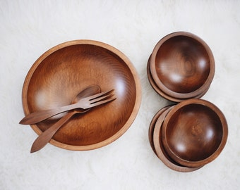 Danish Wood Bowl Set / Authentic Woodcraftery Bowl Set / Mid Century Wood Dinner Set / Instant Collection