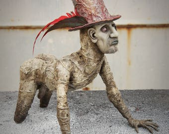 Ooak handmade The Man with the Hat horror sculpture