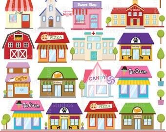 Shops Clipart, Buildings Clipart, Shop Clipart, Building Clip Art, Cafe Clipart, Restaurant Clipart, Stores Clipart, Store Clip Art