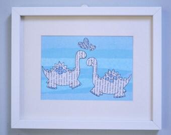 Children's dinosaur picture, New baby gift, Christening gift, Children's bedroom, Personalized gift, Nursery decor, Handmade