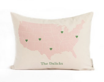Personalized Map Pillow, Housewarming Gift, Gift for Her, Anniversary Gift, Gift for Him, Throw Pillow, Throw Pillows