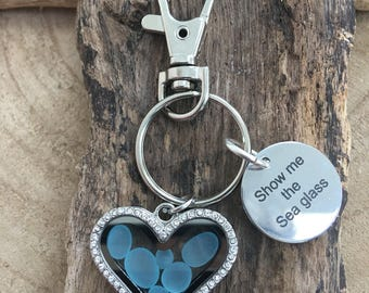 Seaham sea glass in blues heart  memory locket   keyring/ bag charm - Show me the sea glass