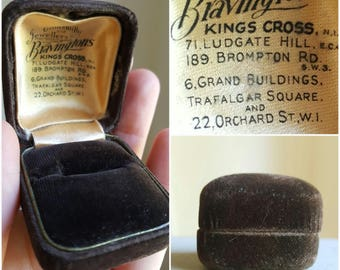 Vintage Brown Velvet Ring Box Jewelry Box Jewelry Display Box Ring Display Storage Jewelry Case Vintage Ring Box