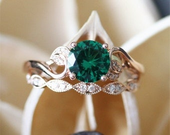 Emerald engagement ring Etsy