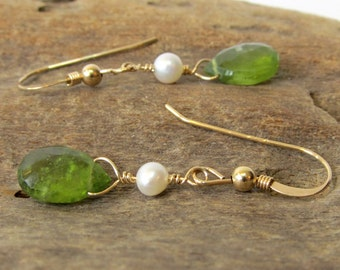 Vesuvianite Drop Earings, Handmade Unique Volcanic Gemstone Earrings with White Freshwater Pearls & Gold Filled Hooks, Green Dangle Earring