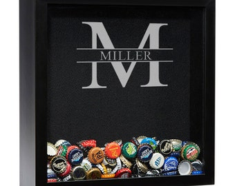 Personalized Beer Cap Shadow Box, Beer Cap Holder, Beer Cap Shadow Box, Man Cave Decor, Beer Drinkers Gift