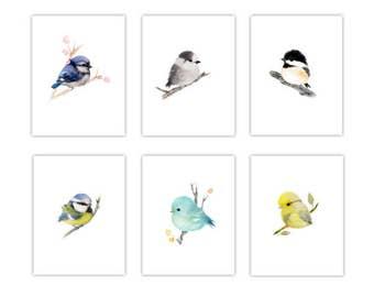 6 Bird prints, baby bird, bird nursery decor, bird nursery, wildlife print, bird painting, bird print set of 6, gift for bird lovers