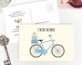 New address cards PRINTED | I'm on the move cards | 4X6 Just moved cards with blue bicycle | Change of address cards cheap