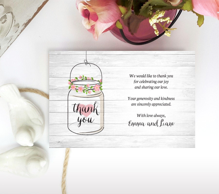 printed thank you notes mason jar thank you cards for wedding