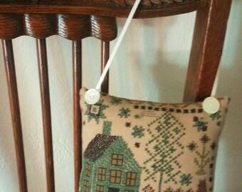 Vintage Style Hanging Sachet Pillow, Nostalgic Sachet, Primitive Style Hanging Sachet, Embroidered Style Hanging Sachet,Sachet Pillow,Sachet