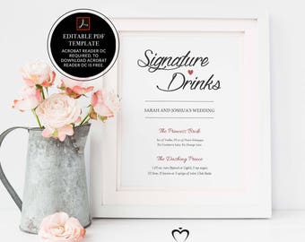 Signature Drinks Printable, Editable, Signature Drinks Sign, Signature Cocktails, Bar Sign, Wedding Printable, Sign, Instant Download,DIY,01