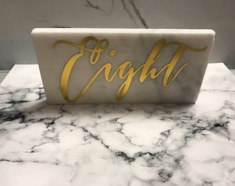 Marble And Gold Table Numbers, Marble Tile Table Number Set, Marble Wedding Decor