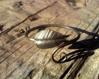 Hand forged metal bangle bracelet (adjustable).