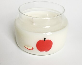 Honey Crisp Apple/ 8oz Soy wax Candle/ fall scent/ zero waste/ handpainted/ Gifts/ Fall Candle