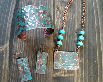 Copper Cuff, Necklace and Earring Set~