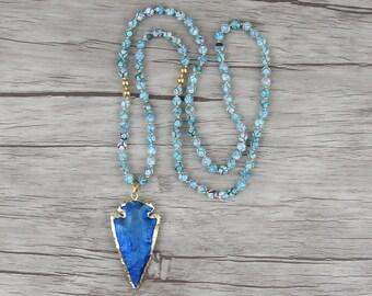 Gemstone arrow pendant necklace Beaded long necklace Blue agate bead necklace Satement necklace Long bead necklace Yoga necklace NL-029