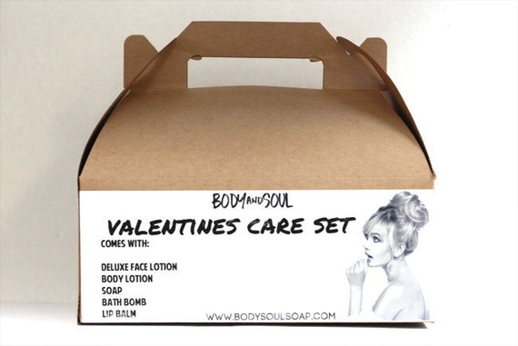 Valentines Day Care Set- Bath Bomb, Lotion, Soap, Lip Balm, Face Lotion - Small Batch & Locally Made