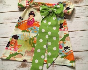 Japan print Peasant dress Girls/Infant/Toddler