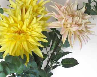 Real Touch Dahlia Mums Artificial Flowers/Yellow/Light Pink Chrysanthemums/Floral Arrangement/Flower Centerpiece/Home Decor