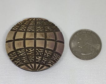 Vtg Buffed Celluloid Button One Piece Thirties Plastic Carved Two Color Hot Air Balloon Collectible Buttons Competition