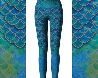 Hand Painted Watercolor Mermaid Leggings, Eco Friendly Mermaid Scales Leggings, Dragon Leggings,  Mermaid Yoga Pants, Dragon Pants