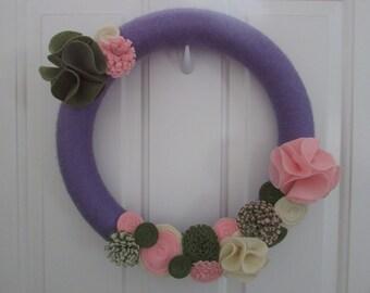 Spring Yarn Wreath, Easter Yarn Wreath, Everyday Yarn Wreath, Spring Wreath, Easter Wreath, Yarn Wreath, Lavender Wreath