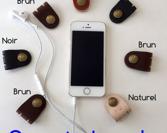 Earphone Organizer, Leather Earbud Holder, Handmade Earphone Clip, Cable Wrap, Earplugs Organizer