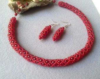 Choker Necklace, Red Bead necklace, Red Choker Necklace, Red Bridesmaid Set, Red Statement Choker, Jewelry For Women, Red Necklace Earring
