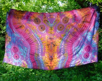 Purple Tie Dye Scarf Sarong Throw Rainbow Wall Hanging Psychedelic Wrap Beach Cover up