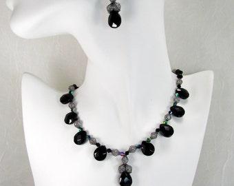 Vintage Black Teardrop Necklace/Black Teardrop & Crystal Choker/Black Teardrop Choker/Black and Crystal Bracelet/Black Teardrop Earrings
