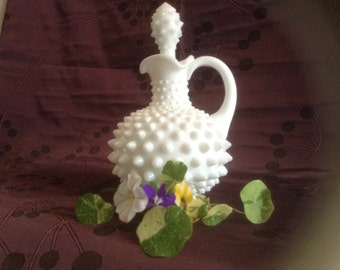 Fenton Hobnail Milk Glass Lotion Bottle, Cruet, Creamer