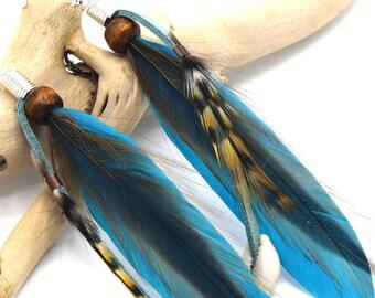 Oneida earrings blue feathers and shells