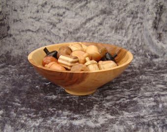 A SQUIRREL'S FEAST*A Cherry bowl houses 21 acorns made from native and exotic wood*Bowl of nuts*Woodturning*Fun and romantic-Nuts about you