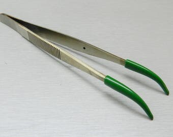 Tweezers Curved Tip Rubber Tips PVC Coated Curved Tweezer Jewelry Hobby Craft (2E)