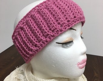 SALE Pink Crochet Ribbed Ear Warmer