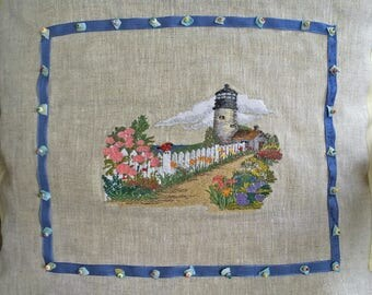 """LulaBleu-100% Pure Linen-Lighthouse 12 x 16"""" Pillow...Embroidered & Hand Beaded and Stitched...Miyuki /Shells..Pillow included OOAK LBD"""