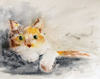 "Lying red and  white cat with green eyes original painting - Original watercolor, original cat watercolour - pet painting - 16"" x 12"""
