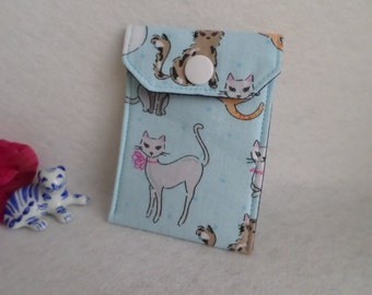 Cats - All Purpose Fabric Mini Pouch - Birth Control Case, Business Card Holder, Tea Bag Holder - Handmade FREE SHIPPING