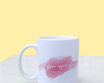 grace upon grace watercolor mug