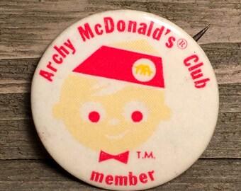 Vintage (1964) **RARE** Archy McDonald's Club Member Pinback Button
